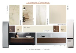 Coaching_decoration_Montpellier_Planche d'ambiance_couleur_salle-de-bain_luxe_marbre